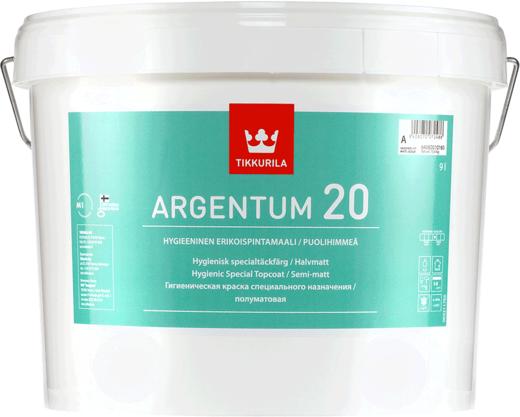 Тиккурила Аргентум 20 гигиеническая краска специального назначения полуматовая (9 л) белая