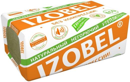 Изовол Izobel Л-25 натуральный негорючий изоляционный материал (0.6*1 м/100 мм) 4 плиты