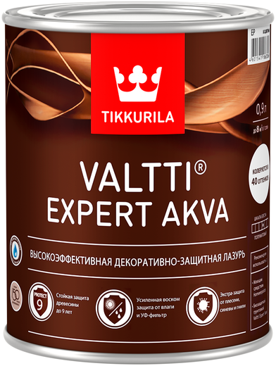 Тиккурила Валтти Эксперт Аква высокоэффективная декоративно-защитная лазурь (9 л) сосна