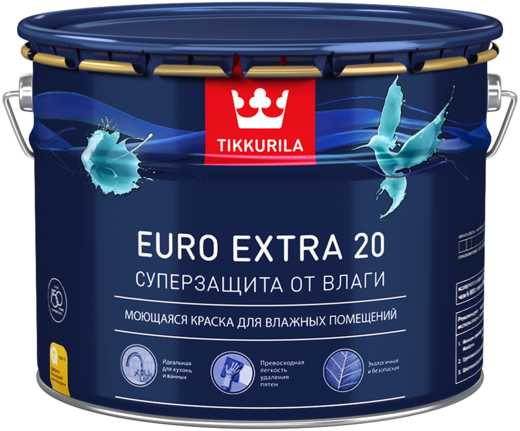Тиккурила Евро Экстра 20 Суперзащита от влаги моющаяся краска для влажных помещений (9 л) белая