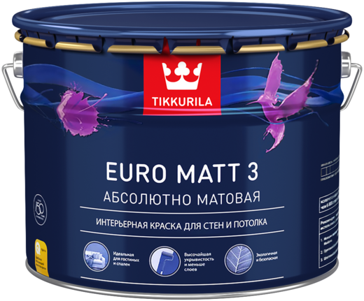 Тиккурила Евро Матт 3 Абсолютно Матовая интерьерная краска для стен и потолка (900 мл) бесцветная