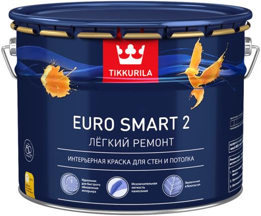 Тиккурила Евро Смарт 2 Легкий Ремонт интерьерная краска для стен и потолка (9 л) белая