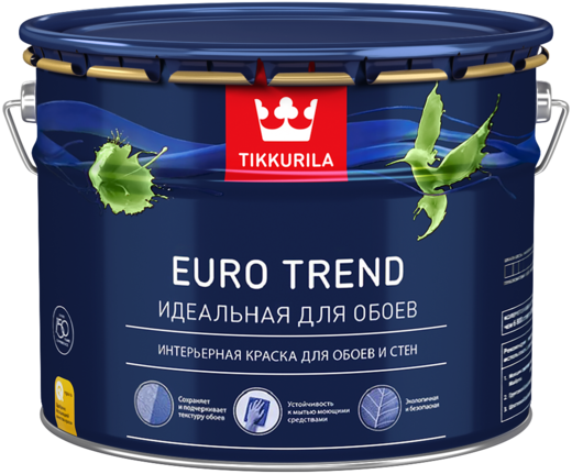 Тиккурила Евро Тренд Идеальная для Обоев интерьерная краска для обоев и стен (900 мл) белая