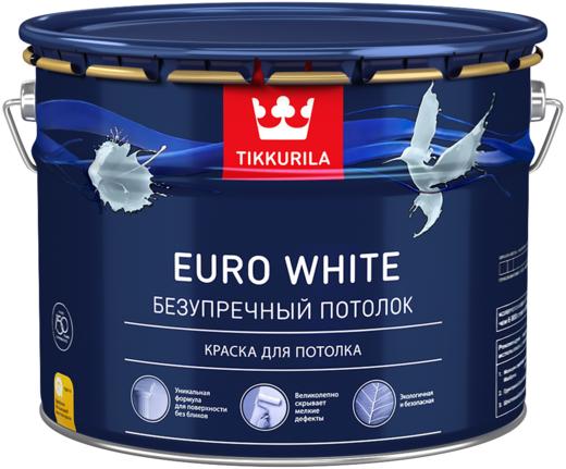 Тиккурила Евро Уайт Безупречный Потолок краска для потолка (9 л) белая