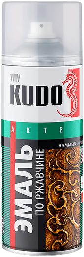 Kudo Arte Hammered Finish эмаль по ржавчине молотковая (520 мл) серебристо-черная молотковая