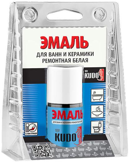 Kudo эмаль для ванн и керамики ремонтная белая с кисточкой (15 мл) белая