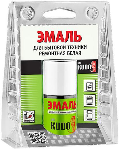 Kudo эмаль для бытовой техники ремонтная белая с кисточкой (15 мл) белая