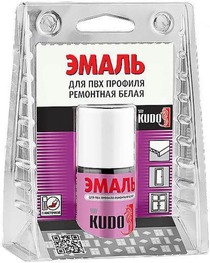 Kudo эмаль для ПВХ профиля ремонтная белая с кисточкой