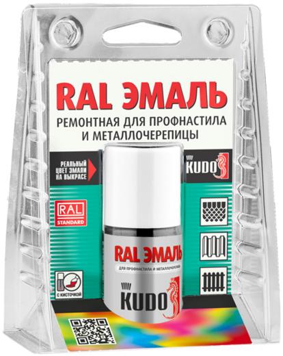 Kudo RAL эмаль ремонтная для профнастила и металлочерепицы (15 мл) шоколадно-коричневая