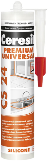 Ceresit CS 24 Silicone Premium универсальный высокоэластичный силиконовый герметик (280 мл) белый