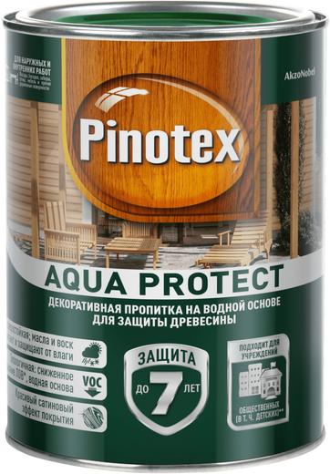 Пинотекс Aqua Protect декоративно-защитная пропитка на водной основе для древесины
