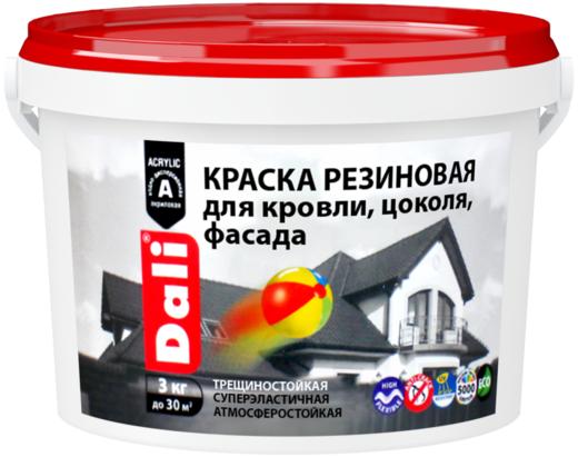 Dali краска резиновая для кровли, цоколя, фасада трещиностойкая (12 кг) белая