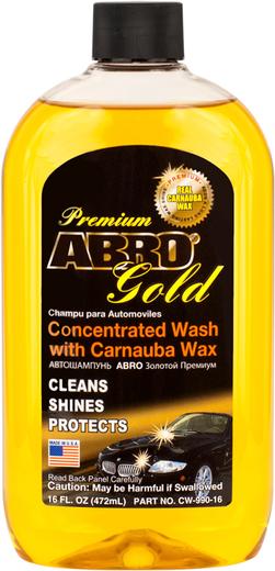 Abro Premium Gold Concentrated Wash with Carnauba Wax автошампунь с воском карнаубы золотой премиум (1 л) желтый