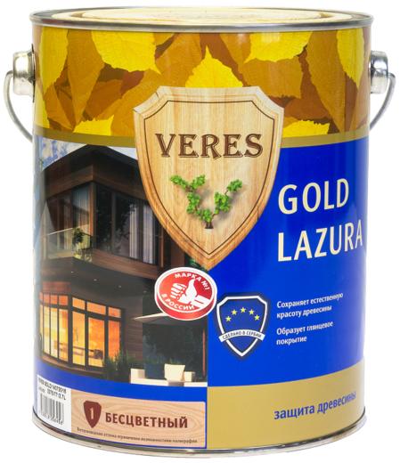 Veres Gold Lazura защита древесины (10 л) золотой бор