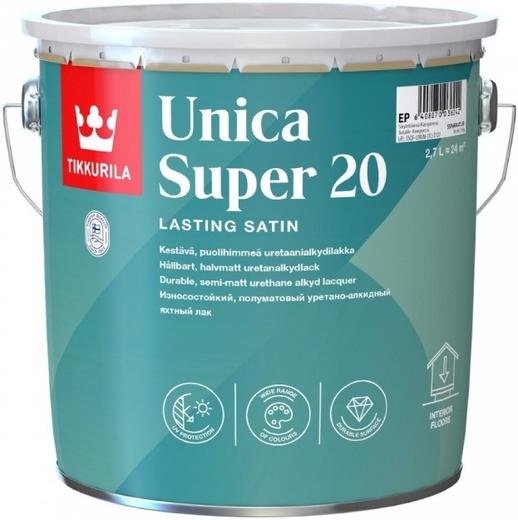 Тиккурила Уника Супер 20 износостойкий уретано-алкидный лак полуматовый универсальный (9 л)