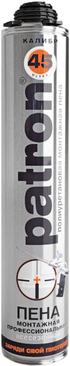 Patron Mega Калибр 65 полиуретановая монтажная пена профессиональная всесезонная (875 мл) пистолетная