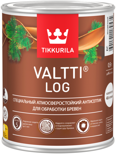 Тиккурила Валтти Лог специальный атмосферостойкий антисептик для обработки бревен (9 л) тик