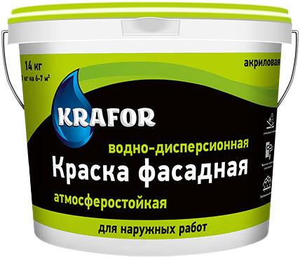 Крафор водно-дисперсионная краска акриловая фасадная (14 кг) белая