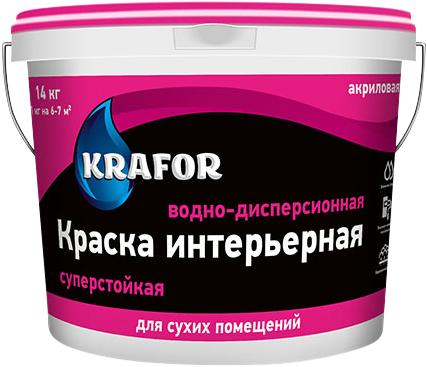 Крафор водно-дисперсионная краска акриловая суперстойкая (14 кг) белая