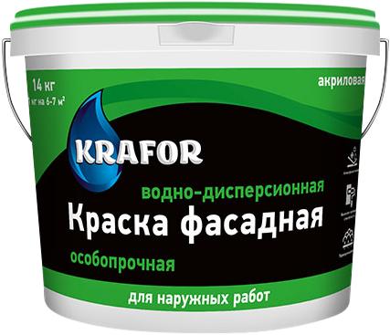 Крафор водно-дисперсионная краска акриловая особопрочная фасадная (3 кг) белая