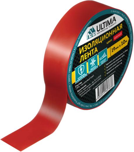Лента изоляционная ПВХ Ultima (19 мм*10 м) красная