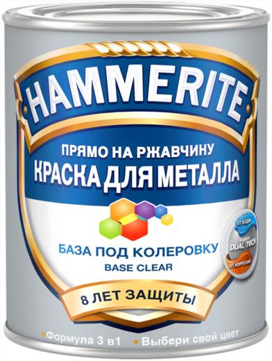 Hammerite Прямо на Ржавчину краска для металла 3 в 1 база под колеровку (650 мл) бесцветная гладкая