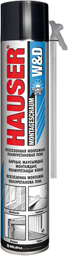 Hauser W&D всесезонная монтажная полиуретановая пена (600 г) ручная