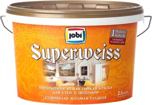 Jobi Superweiss интерьерная влагостойкая краска для стен и потолков гладкая супербелая акриловая