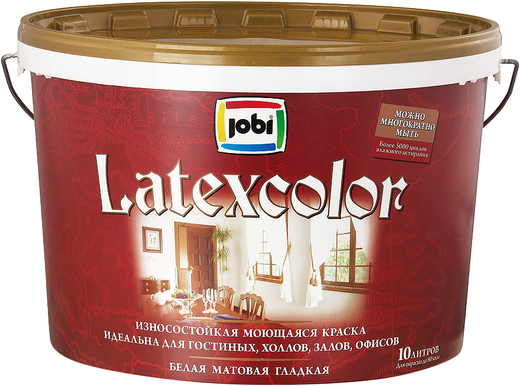 Jobi Latexcolor износостойкая моющаяся краска гладкая интерьерная для стен и потолков