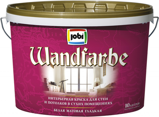 Jobi Wandfarbe интерьерная краска для стен и потолков в сухих помещениях акриловая