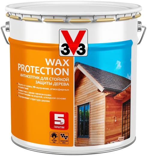 V33 Wax Protection антисептик для стойкой защиты дерева с добавлением воска (9 л) темный дуб