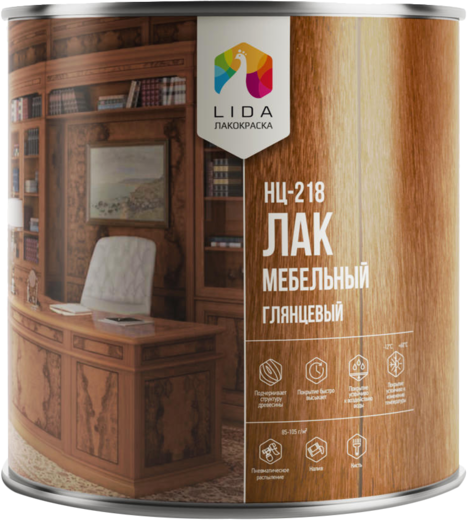 Лакокраска Lida НЦ-218 лак мебельный (40 кг)