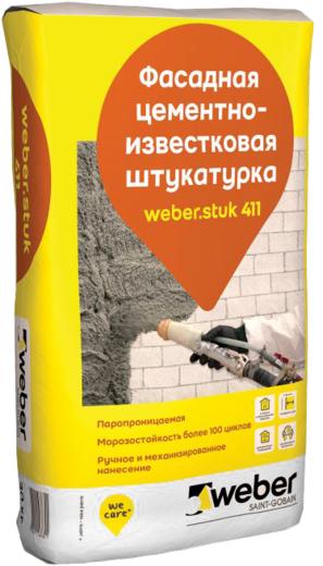 Вебер.Stuk 411 фасадная цементно-известковая штукатурка (30 кг)