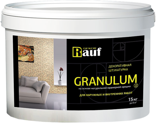 Rauf Decor Granulum декоративная штукатурка на основе натуральной мраморной крошки для наружных и внутренних работ