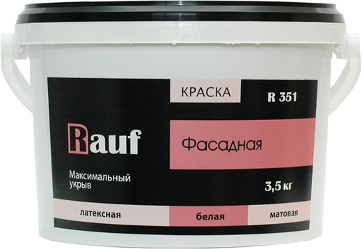 Rauf R 351 краска фасадная латексная (14 кг) белая