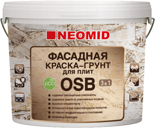 Неомид фасадная краска-грунт для плит OSB 3 в 1 (14 кг) белая