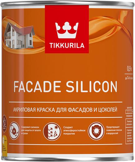 Тиккурила Фасад Силикон акриловая краска для фасадов и цоколей (900 мл) белая