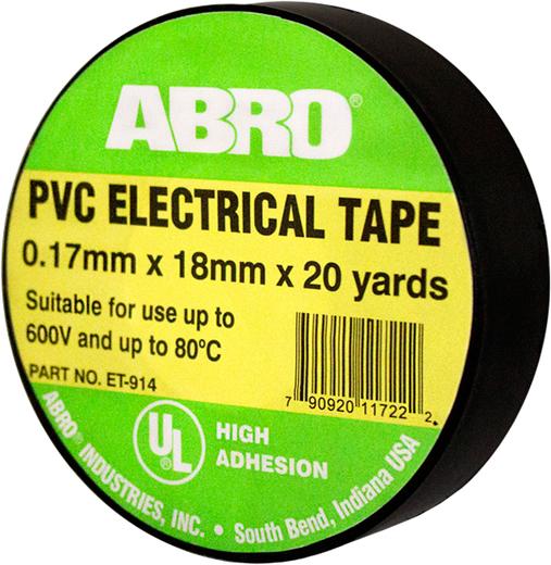 Изолента термостойкая Abro (18 мм*18.3 м/0.17 мм) черная