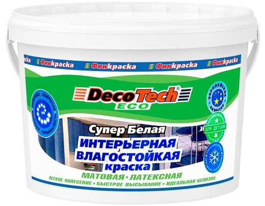Decotech Eco краска интерьерная влагостойкая латексная (14 кг) супербелая