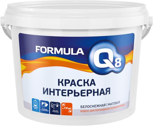 Formula Q8 ВД-АК-212 краска интерьерная водно-дисперсионная полиакриловая (13 кг) белоснежная