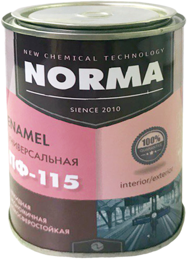 Новоколор ПФ-115 Норма эмаль атмосферостойкая быстросохнущая алкидная (25 кг) черная