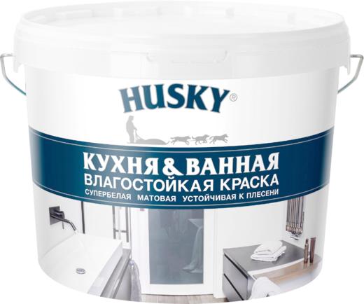 Хаски Кухня & Ванная влагостойкая краска устойчивая к плесени (9 л) супербелая
