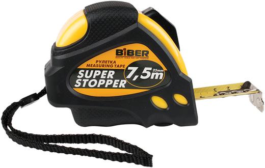 Рулетка с автофиксатором Бибер Super Stopper (5*19 мм) обрезиненный пластик