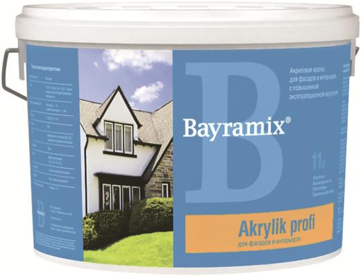 Bayramix Akrylik Profi акриловая краска для фасадов и интерьеров (900 мл) белая