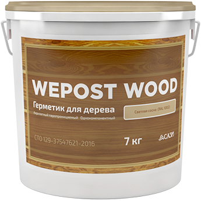 Wepost Wood однокомпонентный акриловый герметик (19 кг) темный дуб