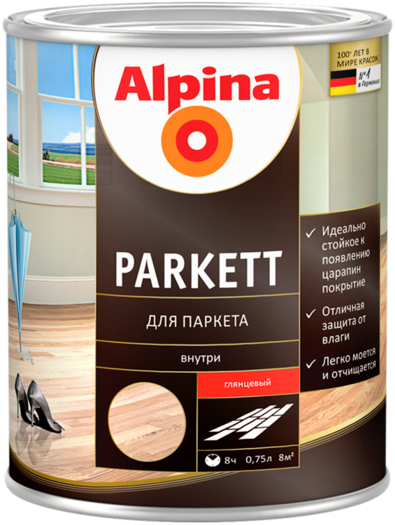 Alpina Parkett лак для паркета (750 мл) шелковисто-матовый