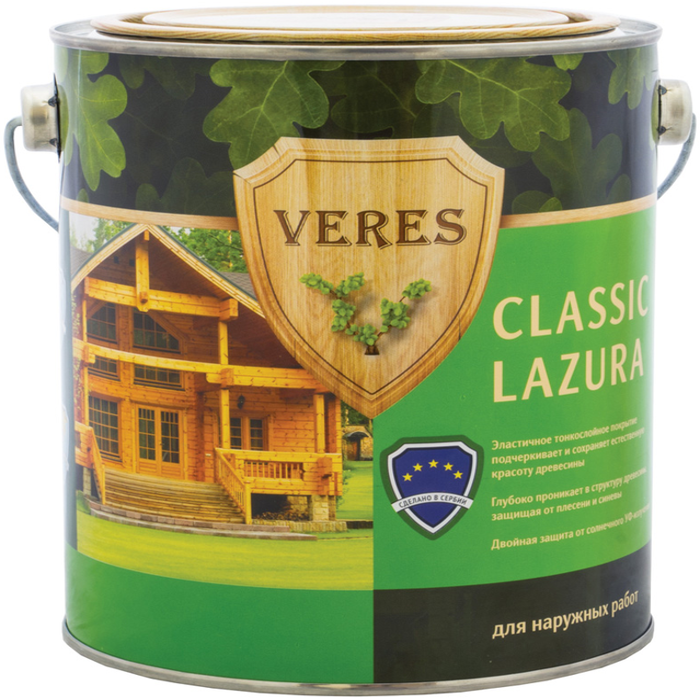 Veres Classic Lazura декоративно-защитная лессирующая пропитка для древесины (2.7 л) рябина