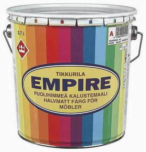 Тиккурила Эмпире традиционная алкидная краска для мебели полуматовая (2.7 л) белая