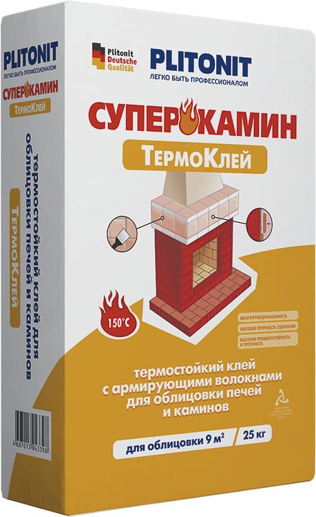 Плитонит Суперкамин Термоклей (ВТ) термостойкий клей с армирующими волокнами (25 кг)