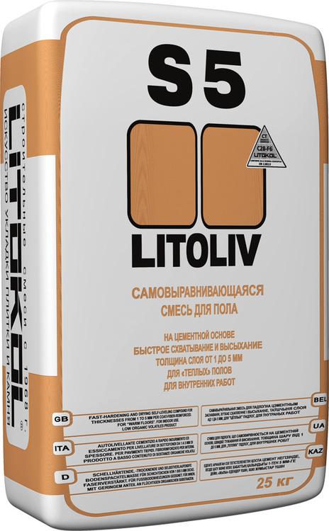 Литокол Litoliv S5 самовыравнивающаяся смесь для пола на цементной основе (25 кг)